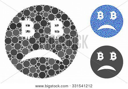 Sad Bitcoin Smiley Composition Of Circle Elements In Different Sizes And Color Tinges, Based On Sad
