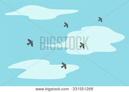Herd Of Flying Birds. Blue Sky And Clouds. Vector Illustration.