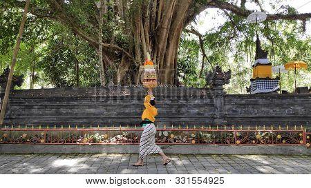 Bali, Indonesia- 18 Oct, 2019: Local Visit Tirta Empul Temple Bali,indonesia. Tirta Empul Holy Water