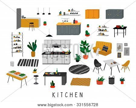 Set For Kitchen Or Dining Room With Stylish Comfy Furniture And Modern Home Decorations In Trendy Sc