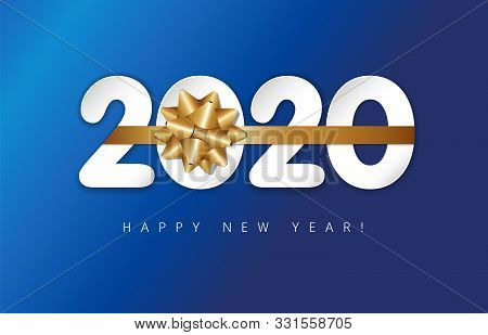 Happy New Year 2020 - New Year Blue Background With 20 20 Numbers And Golden Bow. Festive Numbers De