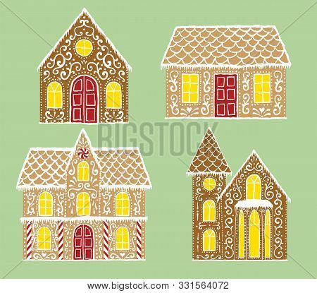 Christmas Gingerbread Set With Gingerbread Houses On Green Background