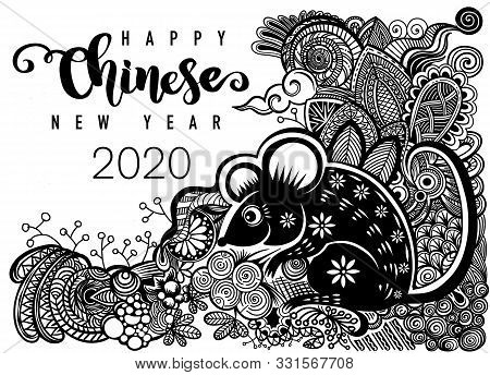 Chinese New Year 2020 Year Of The Rat , Paper Cut Rat Character, Flower And Asian Elements With Craf