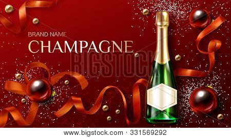 Champagne Bottle On Christmas Decorated Background With Baubles, Ribbon And And Glitter. Closed Bubb