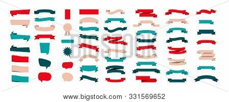Set Of Colorful Ribbon Banners Isolated On White Background. Ribbons Banners Collection Different Sh