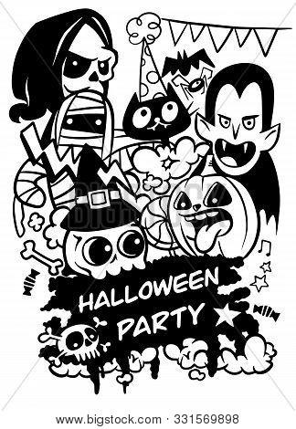 Halloween Party Invitation. Halloween Design Template. Vector Illustration