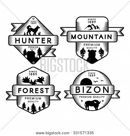 Hunter And Bizon, Forest And Mountain Set Logo