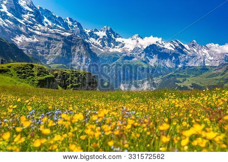 Mountain Range Breithorn Of The Pennine Alps As Seen From Klein Matterhorn, Switzerland.