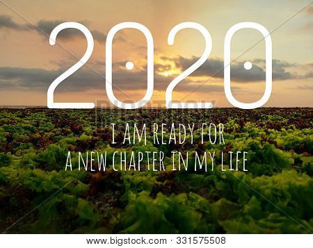 2020 And Inspirational Quote - I Am Ready For A New Chapter In My Life. With Blurry Green Seaweed An