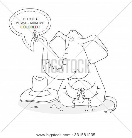 Black And White Coloring Book Page. Cartoon Character Of A Funny Cute Elefant With Hat. Card From A