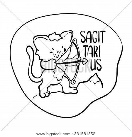 Sagittarius Astrological Zodiac Sign With Cute Cat Character. Sagittarius Vector Illustration On Whi