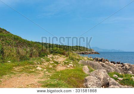 Landscape On The Coast Of Tyrrhenian Sea Between Scauri And Formia, Italy.