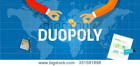 Duopoly Concept Of Two Company Dominate Market Share Of A Product. Market Leader Generate Sales Or R