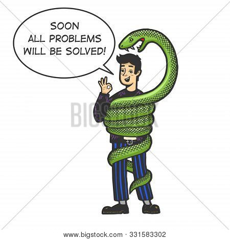 Big Snake Is Trying To Strangle And Eat An Optimistic Person Sketch Engraving Vector Illustration. T