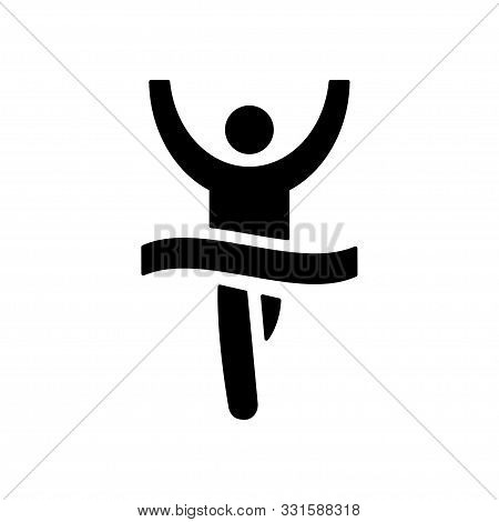 Runner Crossing Finish Ribbon Icon. Isolated Vector Sign Symbol. Runner Concept. Competition Icon. R