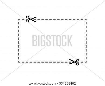 Scissors Dotted Cut Line Square. Scissors Cut Line Element Vector Isolated. Scissor Vector Icon Temp