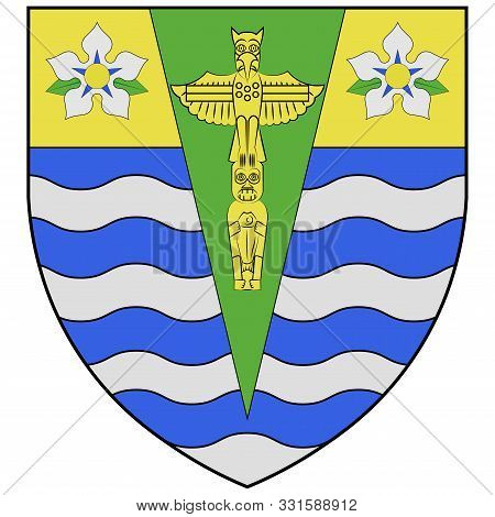 Coat Of Arms Of Vancouver Is A Coastal Seaport City In Western Canada, Located In The Lower Mainland