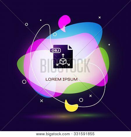 Black Obj File Document. Download Obj Button Icon Isolated On Dark Blue Background. Obj File Symbol.