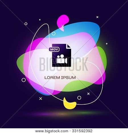 Black Mov File Document. Download Mov Button Icon Isolated On Dark Blue Background. Mov File Symbol.