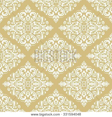 Classic Seamless Vector Light Golden And White Pattern. Damask Orient Ornament. Classic Vintage Back