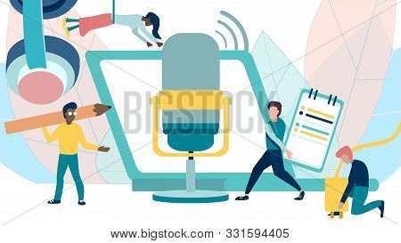 Online Training, Podcast, Radio. Podcast Concept Illustration. People Working Together For Creating