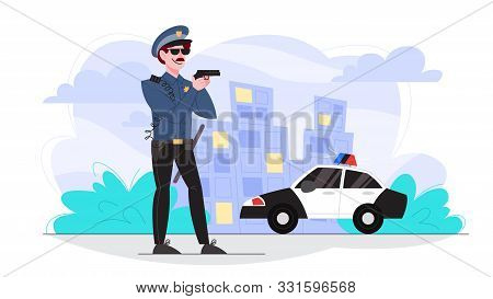 Male Police Officer Holding A Gun. Policeman Patrol The City.