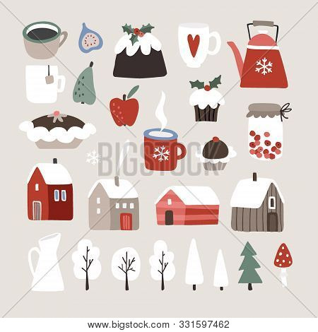 Set Of Cute Winter, Christmas Food, Drink And Landscape Icons. Cup Of Coffee, Fruit, Christmas Puddi
