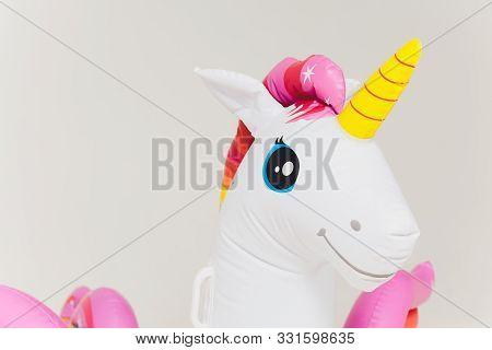 Air Mattress. It Has Shape Of Unicorn. On White Background.