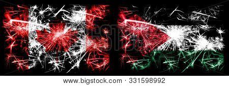 Canada, Canadian Vs Jordan, Jordanian New Year Celebration Sparkling Fireworks Flags Concept Backgro