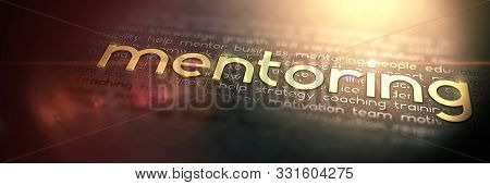 Macro Photo Of Gold Slogan Mentoring. Golden Word Mentoring Embossed On Dark Paper. Great Business C