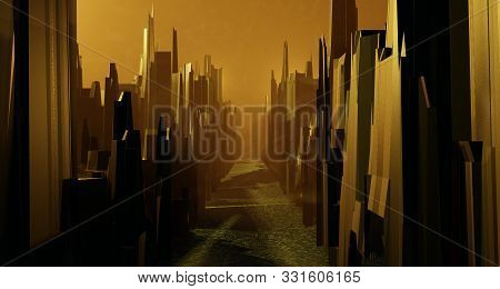 Surreal Landscape City Light Orange Neon Glow. Street Quarter Fire Burns Empty Street. Sci-fi Alien