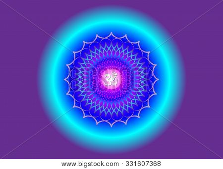 Crown Chakra Sahasrara. 7th Chakra Is Located At The Top Of The Head. It Represent States Of Higher