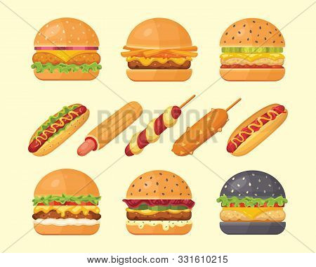 Set Of Classic Burgers With Flying Ingredients And Hotdogs. Vector Hamburger And Hot Dog Icons. Fast