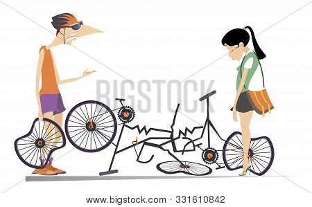 Road Accident, Two Cyclists And Broken Bikes Illustration. Broken Bikes And Angry Cyclist Holds A Br