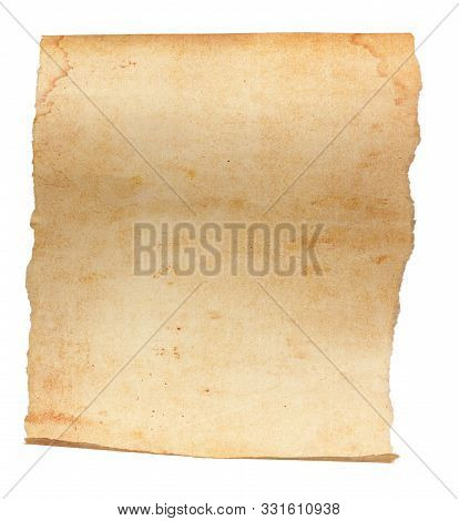 An Unrolled, Aged And Worn Paper With With Torn Edges. Blank With Room For Text Or Images. Isolated