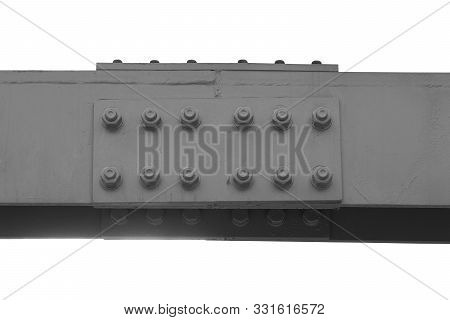 Steel Connection Of Two Gray Beams On Bolts. Isolated White Background, Steel Channel.