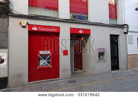 Ronda, Spain 30 October 2019: A Branch Of Santander Bank With A New Cashpoint Not Yet In Use And Tap