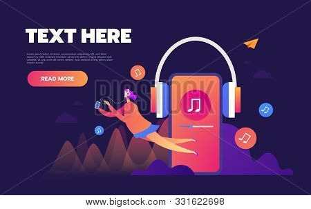 Concept Of Internet Online Music Streaming Listening, People Relax Listen. Music Applications, Playl