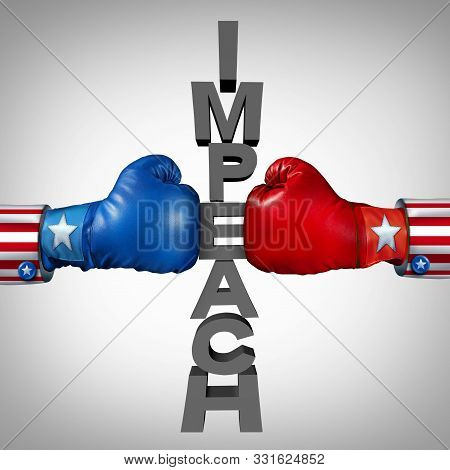 Impeach Fight As Republican And Democrat Politicians Fighting An Impeachment Political Disagreement