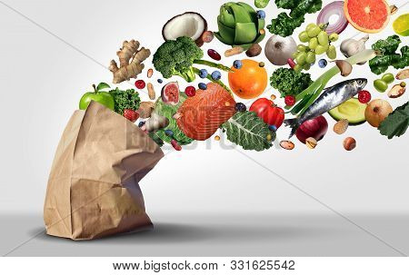 Healthy Grocery Supermarket Concept And Nutritional Food Groceries As Fruit Vegetables Nuts Fish And