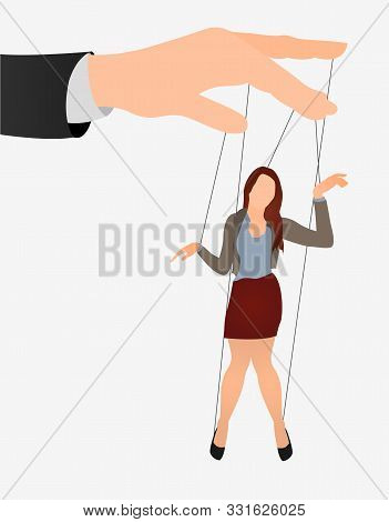 Puppet Businesswoman In An Empty Place Leaded By A Huge Hand. Command, Control, Woman, Manipulate, M