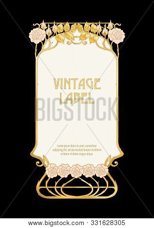 Label, Decorative Frame, Border. Good For Product Label. With Place For Text In Art Nouveau Style, V