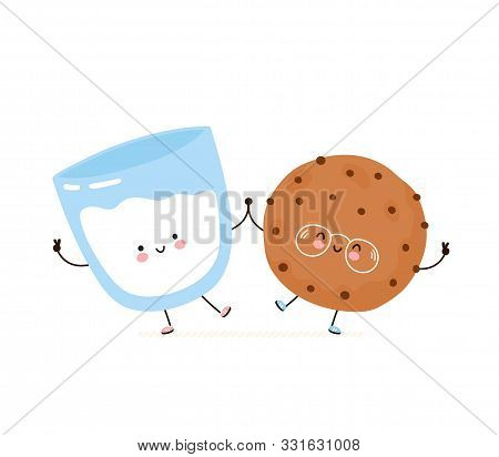 Cute Happy Smiling Chocolate Chip Cookie And Glass Of Milk. Isolated On White Background. Vector Car