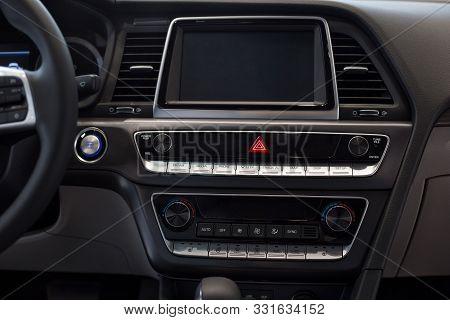 Russia, Izhevsk - October 16, 2019: Hyundai Showroom. Interior Of Prestige Modern Sonata Car. Multim