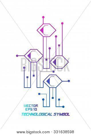 Technology Symbol, Logo.molecular Structure .nanotechnology Vector .future Industry Illustration.