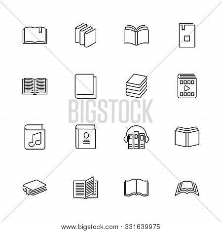 Books, Bookstore, Diary Outline Icons Set - Black Symbol On White Background. Books, Bookstore, Diar