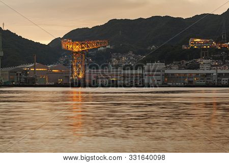 Giant Cantilever Crane In Dejima Wharf In Nagasaki, Japan