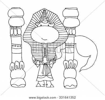 Coloring Book For Kids - Unicorn In The Costume Of An Egyptian Pharaoh Near The Columns. Black And W