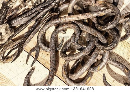 Wrought Iron Products Pile Of Old Rusty Hook Close Up Background Craftwork Craft