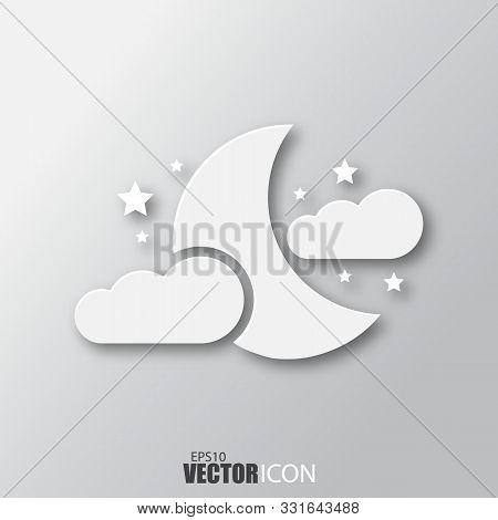 Moon, Clouds And Stars Icon In White Style With Shadow Isolated On Grey Background.